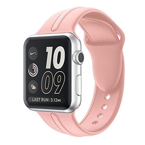 Apple watch band 38mm,Sundo Soft Silicone Replacement Wrist Strap Bracelet Band for Apple Watch Nike+ Sport Edition Series 2 Series 1(Vintage Rose 38 SM)
