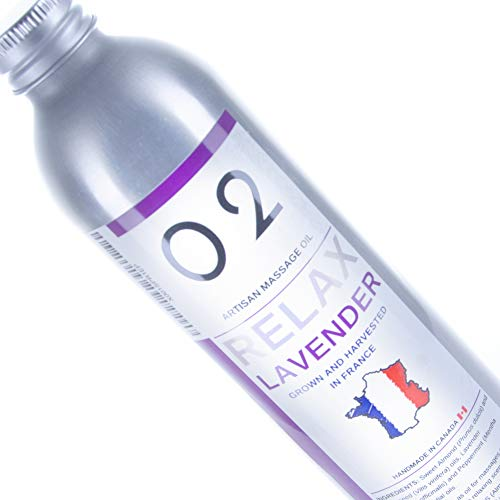 Sensual Massage Oil with Lavender harvested from France - 100% Natural Plant Source for Relaxing Massages & Muscle Relief - Sweet Almond Grapeseed Carrier Oils - Made in Canada Aluminium Bottle 8.5 oz