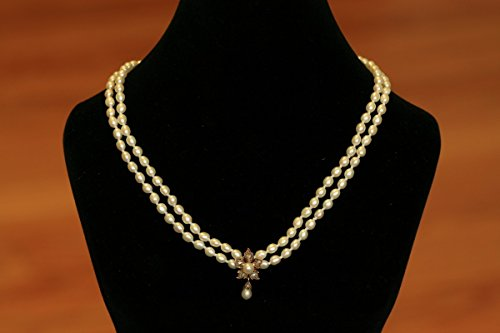 Victorian Rose Cut Diamond - Victorian Rose Cut Diamond and Pearl Flower Necklace