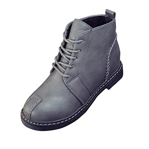 Kaiki Frau Stiefeletten Lace-Up Low Heels Herbst Stiefel Vier Jahreszeiten Schuhe Gray
