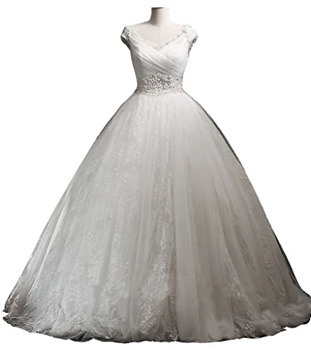 Snowskite Womens A-line V Neck Floor Length Lace Bridal Gown Wedding Dress Ivory 28