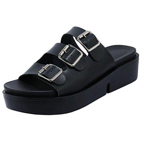 Femmes Mules Black Casual TAOFFEN Sandales SOYwXSvq