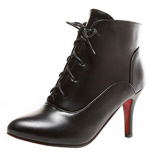 Bottines Femmes Classique A Lacets RAZAMAZA Cheville Bottes Black De Aiguille PT7wxqEpq