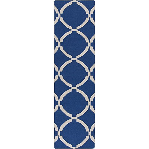 Surya FT521-268 Hand Woven Geometric Runners, 2-Feet 6-Inch by 8-Feet, Navy/Ivory by Surya