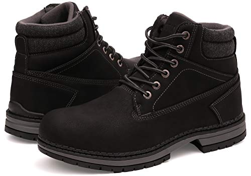 WHITIN Men's Mid Soft Toe Leather Insulated Work Boots Construction Rubber Sole Roofing Waterproof for Outdoor Hiking Winter Snow Concrete Backpacking Mountaineering Hiker Field Black Size 12