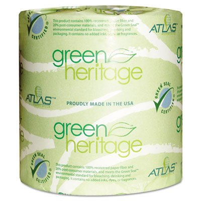Green Heritage Toilet Tissue, 4 1/2 x 3 4/5 Sheets, 1-Ply, 1000/Roll, 96 Roll/CT, Sold as 2 Carton, 96 Each per Carton by Atlas Paper Mills