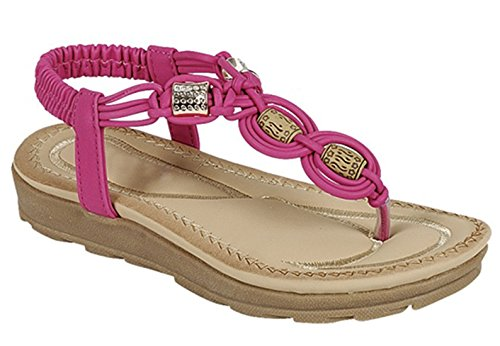 Best SELLER Pink Beaded Tribal Low Heel Walking Sandal Elastic Band Round Toe Sling Back Easy Slipon Tstrap Flat Cute Stylish Modern Flower Thong Big Girl Flip-Flop For Sale Little Kid (Size 1, (Elastic Thong Flip Flops)