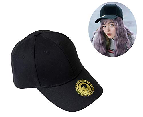 [Newest design]Unisex Solid Flat Bill Adjustable Snapback Hat with Velcro, Baseball Cap Match with Wigs for Daily Party Cosplay Disguise Costumes(Black)