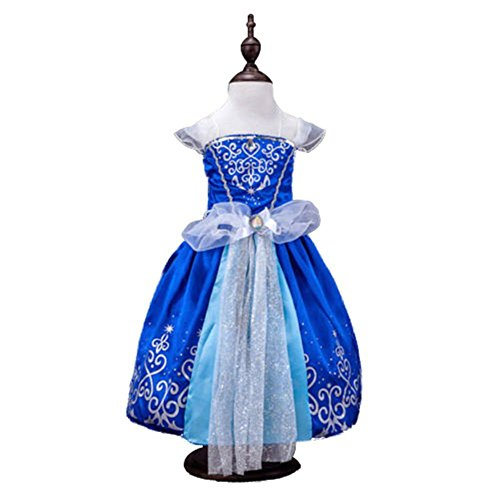 [Kids Girls Princess Rapunzel Cinderella Snow White Aurora Party Dress Costume] (Toddler And Girls Aurora Princess Costumes)