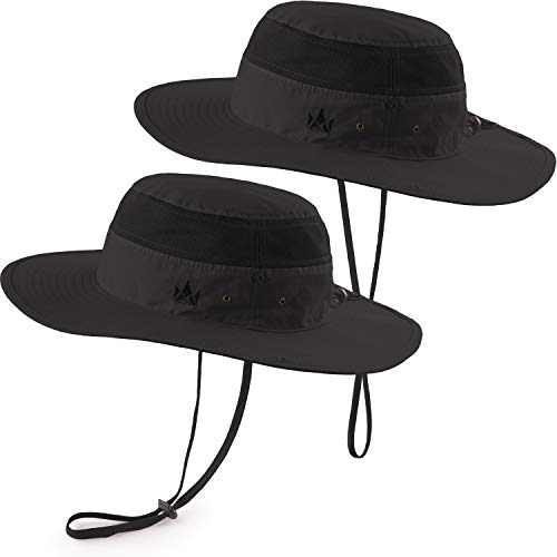 The Friendly Swede Sun Hats 2-Pack - Safari Hat for Men Women and Children, Outdoor Boonie Hat, for Camping, Fishing, Summer, Gardening (Black) - Kids Black Jungle Hat