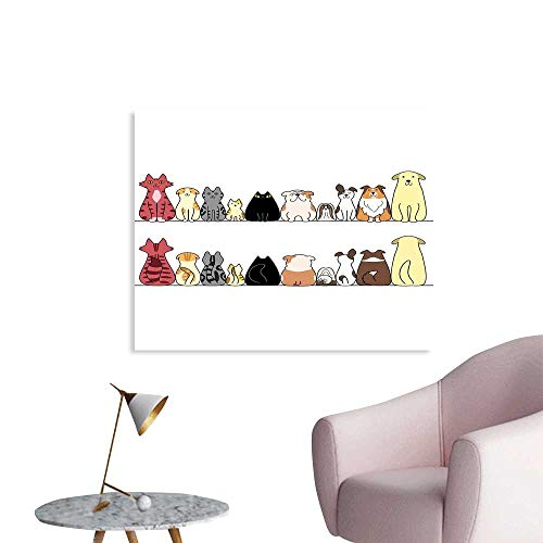 (J Chief Sky Kids Wall Sticker Decals Cats and Dogs Collie Calico Labrador Scottish Shorthair Tabby Shih Tzu Pet Lovers Art Prin Poster Home Decoration W28 xL20)