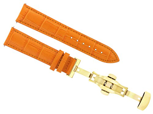 17-18-19-20-21-22-23-24MM Leather Band Watch Strap Clasp for MOVADO 2B Gold