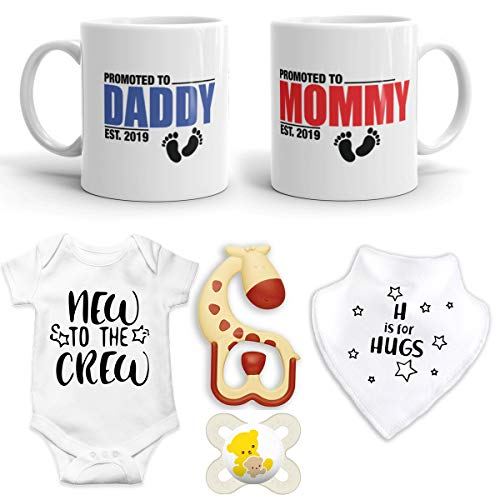 2 Christmas Baby Bibs - 2019 Est Pregnancy Gift - Promoted to Mommy and Daddy Est 2019 (11 oz Ceramic Mug) Coffee Mug Set with