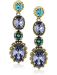 Oval Crystal Adorned Statement Drop Earrings