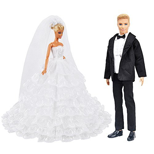 Zehui Handmade White Eight-layers Lace Wedding Dress and Groom Formal Outfit Business Suit for Barbie Girls and Ken Dolls ()