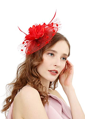 Fascinators Hats for Womens 50s Headwear with Veil Flower Cocktail Wedding Tea Party Church Derby Hat(1A-red)