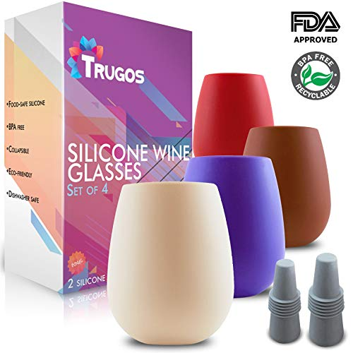 Trugos Unbreakable Silicone Wine Glasses - Set of 4 with Bottle Stoppers Stemless Collapsible Shatterproof Cups Perfect for Outdoor Glass Travel, Camping, Pool, Beach, Gift, Wine, Beer, Cocktails