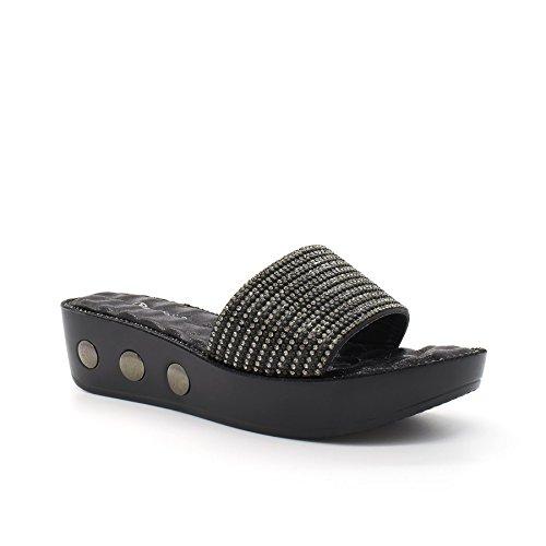 Noir Chaussures Wedge Londres de Diamante Zilla femme Chaussures pour w6q6O8