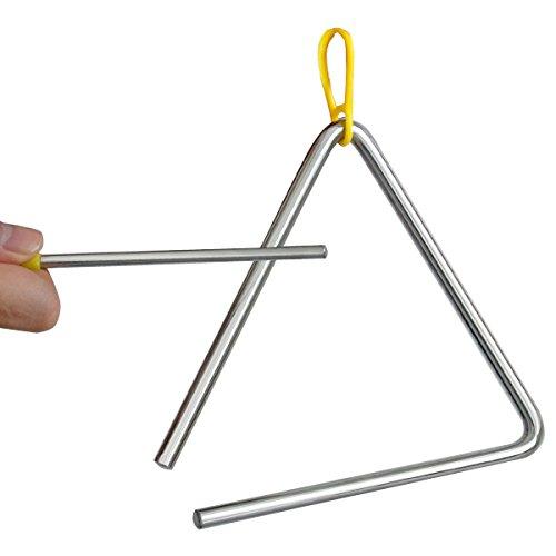 TRIXES Musik-Triangel aus Stahl für die Schule, Kinder, Perkussionsinstrument mit Stab