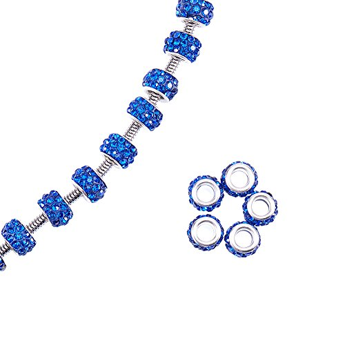 NBEADS 100pcs Sapphire Color Pave Crystal Clay Beads, Rhinestone Large Hole European Charms Beads fit Bracelet Jewelry Making