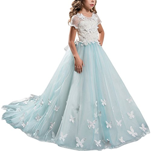 (IBTOM CASTLE Flower Girls Lace Applique Dresses Kids Tulle Satin Spliced Embroidered First Communion Dress Birthday Christening Ball Gown Photography G #G Turquoise 4-5)