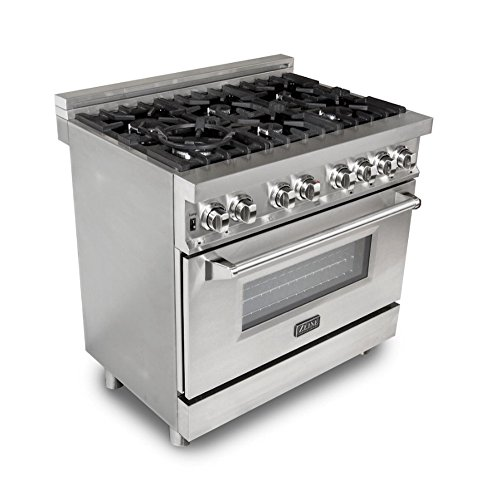 ZLINE 36 in. Professional 4.6 cu. ft. 6 Gas Burner/Electric Oven Range in Stainless Steel (RA-36) by Z-Line