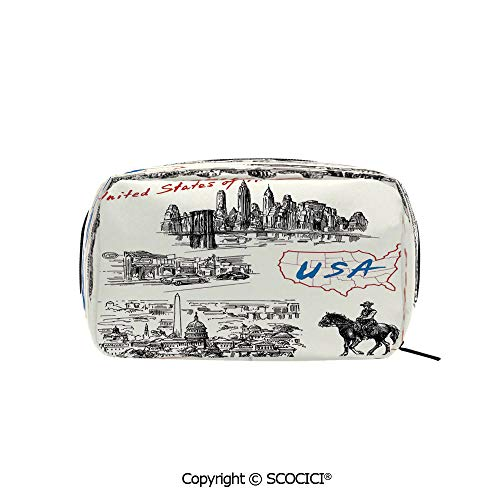 Rectangle Beauty Girl And Women Cosmetic Bags Hand Drawn USA Map Nostalgic Landscapes Skyscrapers Cowboy with Horse Metropolis Printed Storage Bags for Girls Travel
