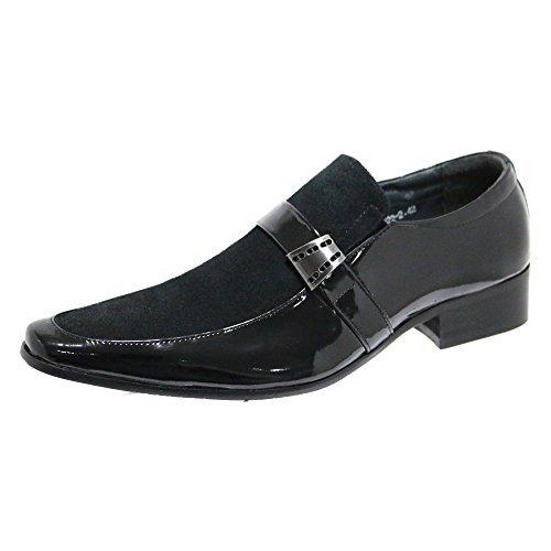 Véritable Cuir Chaussures Hommes Noires Verni Brillant Cuir Suédé Demi Look Élégant 7 8 9 10 11