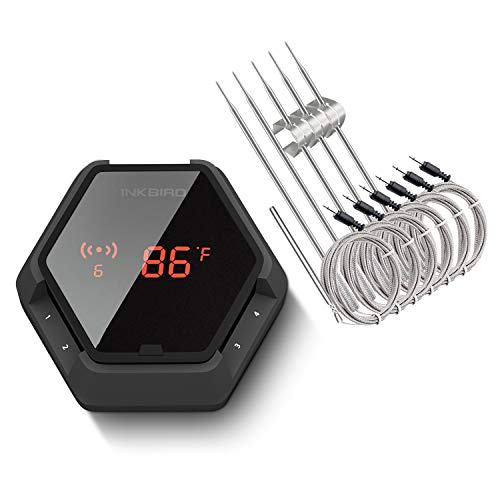 Inkbird IBT-6XS 6 Probes Wireless Grill Thermometer for Smokers, with Rechargeable Battery, Digital Oven BBQ Thermometer, Timer and Alarm for Kitchen, Food, 150ft Meat Thermometer for Grilling, Black