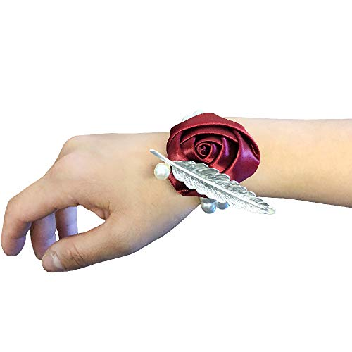 Abbie Home Bridesmaid Wedding Wrist Corsage Party Prom Girls Hand Rose Flower Decor Pack of 2/4/6 (Pack of 4, Burgundy)