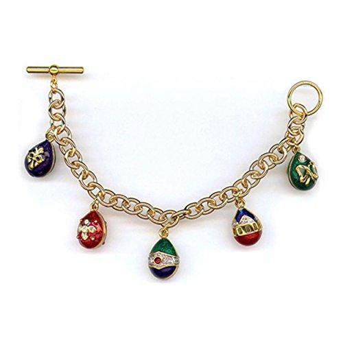 Gold Finish Blue Green Red Enameled Bejeweled Crystal Christmas 4th of July 3D Egg Charm Bracelet 7.5