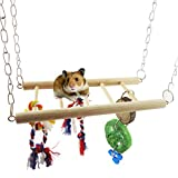 Generic Flexible Natural Wooden Toys Rodent Crazy Climber Ladder Rope Acrobatics Cage Hammock Swing Toy For Parrot Rat Mouse Hamster to Play Clamping Relax or Nap is Great Looking Toy For Any Cage