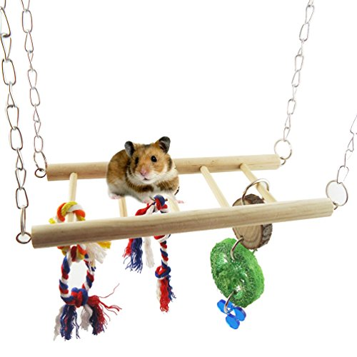 Generic Flexible Natural Wooden Toys Rodent Crazy Climber Ladder Rope Acrobatics Cage Hammock Swing Toy For Parrot Rat Mouse Hamster to Play Clamping Relax or Nap is Great Looking Toy For Any Cage by Shopping Garden