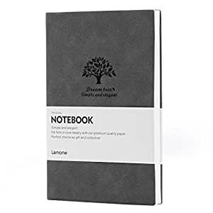 Dotted Leather Notebook/Journal - Lemome Medium Size A5 Bullet Journal - Premium Thick Paper - Softcover Classic Dot Grid Pages Notebook 5.7x8.25 in