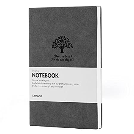 Lemome Antique Unlined Notebook, Eco-Friendly Leather Journal For Women, Soft Cover Travel Diary Sketchbook, Gray, 8.3×5.7 inch 8.3×5.7 inch