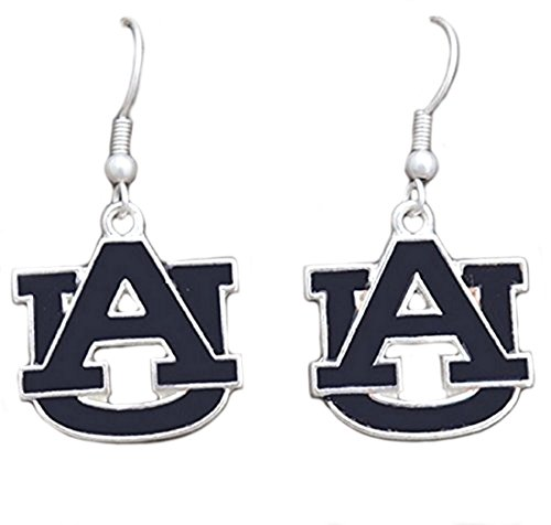 Silver Tone Fishhook Earrings with an Enamel Auburn Charm