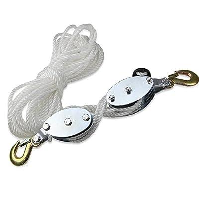 2 Ton Hand Manual Rope Pulley Hoist Vertical Lift Tool Wheel Block&tackle
