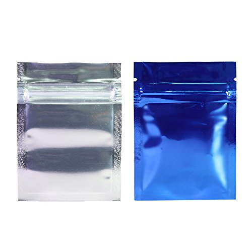 (100PCS Clear/Silver/Blue Mylar Flat Small Mini Sample Size Ziplock Bags 6.5x9cm (2.5x3.5