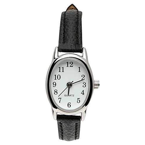 Black Oval Dial - Ladies Watch w/Silvertone Oval Case, White Dial and Black Bracelet Band