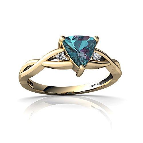 (14kt Yellow Gold Lab Alexandrite and Diamond 6mm Trillion Twist Ring - Size 7.5)