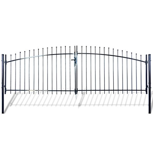 (Festnight Outdoor Double Door Garden Fence Gate with Spear Top 5' x 13' Heavy Duty Steel Door Fence Practical Barrier Wall with 3 Keys)