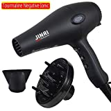 1875W Professional Tourmaline Hair Dryer,Salon Negative Ionic Hair Blow Dryer, DC Motor Light Weight Low Noise Hair Dryers with Diffuser & Concentrator, Black (black-1)