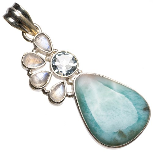 Natural Caribbean Larimar,Blue Topaz and Moonstone Boho 925 Sterling Silver Pendant 2