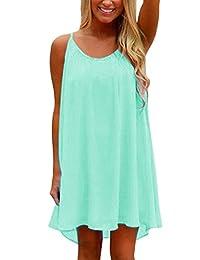Preferhouse Women's Beach Shirt Dress Summer Casual Wear Hollow Out spaghetti straps