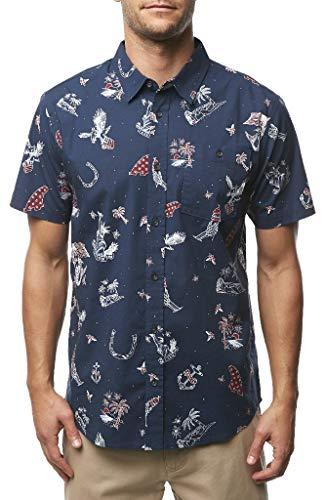 O'Neill Men's Standard Fit Short Sleeve Button Down Shirt (Navy/New Merica, M)