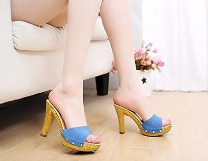 SCLOTHS Chanclas Mujer Gruesas con cómodo Impermeable Zapato Abierto tacón  Alto Blue 5.5 US 35.5 91b06170be04