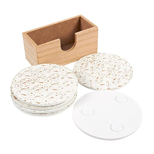 Large Product Image of Juvale Wood Coasters - 6 Pack Round Wooden Coasters with Holder, White Floral Design, 3.8 Inches Diameter