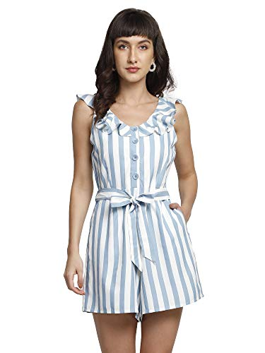 You Forever Womens Stylish Summer Short Shirt Style Jumpsuit Ruffle Neck Sleeveless Along with Detachable Belt Block Print Design for Office, Business, Casual Party Comfortable Wear