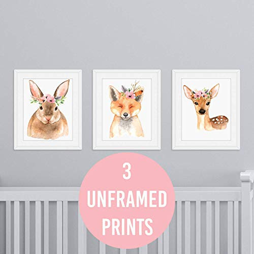 Woodland Creatures Nursery Wall Prints - 3 UNFRAMED Baby Girl Bedroom Decor Fox Deer Rabbit Animal Whimsical Decor Posters 8x10