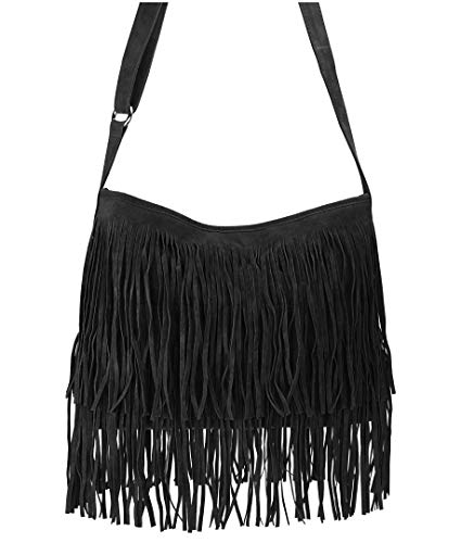 (Hoxis Tassel Faux Suede Leather Hobo Cross Body Shoulder Bag Womens Sling Bag New Upgrade (Black))